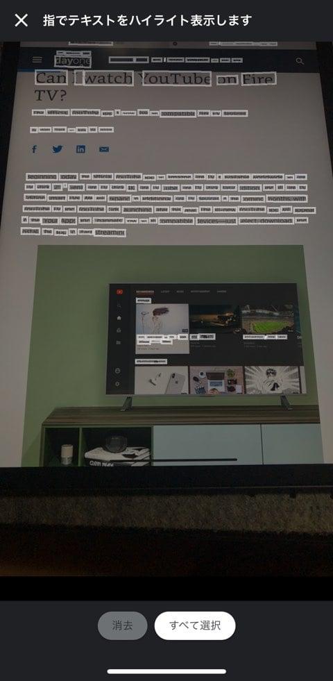 google翻訳アプリでスキャンした画面で文字が認識された画面